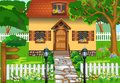 Simple rustic house vector illustration of a surrounded by nature Royalty Free Stock Photography