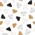 Simple seamless background with a silhouette of a diamond. Black and gold style diamonds background. Geometric seamless pattern wi