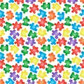 Simple seamless pattern with colorful separated jigsaw puzzles on white. Watercolor hand drawn illustrations in cartoon realistic