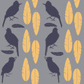 Simple seamless purple pattern  singing birds and yellow feathers sitting on a light background Royalty Free Stock Photo