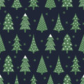 Simple seamless retro Christmas pattern - varied Xmas trees and snowflakes.