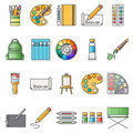 Simple Set of Artistic Vector Flat Icons. Contains such Icons as palette, watercolors, artistic tools, easel