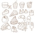 Simple Set of Dessert Related Vector Line Icons. Isolated cartoon illustration.
