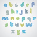 Simple shape color letters font with hand drawn lines pattern sketch doddle style drawing vector alphabet Stock Image
