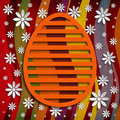 Simple shape of easter egg on colored background and flowers Stock Photo