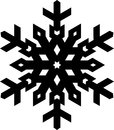 Simple shape stylish black snowflake for your design. Vector geo