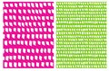Simple Short brush Stripes Vector Pattern. White Spots isolated on a Green and Pink Background.