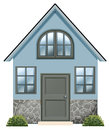 A simple single detached house illustration of on white background Royalty Free Stock Photo