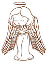 A simple sketch of an angel praying illustration on white background Stock Photo