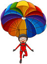 A simple sketch of a girl with a parachute illustration on white background Royalty Free Stock Images