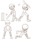 A simple sketch of the men playing cricket Royalty Free Stock Photo