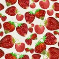 Simple small hand drawn strawberries seamless pattern on white