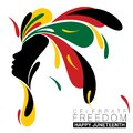 Simple splash of abstract designs around a black silhouette of a woman for Juneteenth