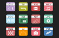 Simple square file types formats labels icon set presentation document symbol and audio extension graphic multimedia