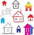 Simple stylized icon of houses abstract sign real estate vector illustration Royalty Free Stock Photography
