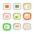 Simple sushi icons set. Vector illustration. Royalty Free Stock Photo