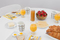 Simple tasty breakfast on a white table is ready morning meal Stock Images