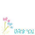 Simple Thank you card flowers white background