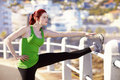 The simple things in life young attractive woman thought while stretching for a run Royalty Free Stock Photo
