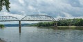 Simple truss bridge a large steel through carries illinois state highway across the illinois river south of the peru la salle area Stock Photography