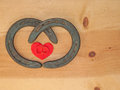 Simple Valentine design with two horseshoes Stock Images
