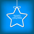 Simple vector christmas card on a blue background Royalty Free Stock Photo