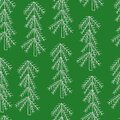 Simple vector Christmas tree seamless pattern in simple cute cartoon style, decorative evergreen forest fir-tree collection