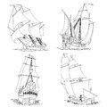 Simple vector group of ship with sails set artistic illustrations sailing ships the th century painted lines Stock Photos
