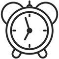 Simple Vector Icon of a classic alarm clock in line art style. Pixel perfect. Basic education element.