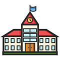 Simple Vector Icon of a school building in line art style. Pixel perfect. Basic education element.