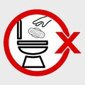 Simple Vector, Icon Stye Prohibition Sign in toilet, do not Litter your sanitary napkin and other trash into closet, public Royalty Free Stock Photo