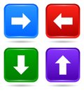 Vector up down next back square button icon set Royalty Free Stock Photo