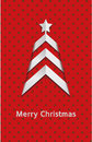 Simple vector red christmas card – tree polka dot Stock Photo