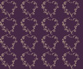 Simple vector seamless repeating pattern for vintage design. Pale yellow floral heart on a dark purple background. Royalty Free Stock Photo