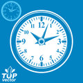 Simple vector wall clock with stylized white clockwise, invert v Royalty Free Stock Photo