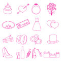 Simple wedding red outline icons set eps10