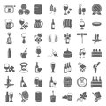 Simple wine and beer universal icons set Royalty Free Stock Photo
