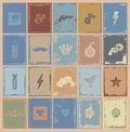 Simple Worn Stamps Collection Royalty Free Stock Images