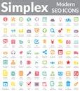 Simples seo icons moderno versão da cor Foto de Stock