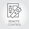 Simplicity icon in line style of remote control. Black logo for websites, mobile apps and other design needs