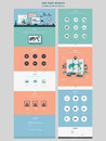 Simplicity one page website design template in flat style Stock Photography