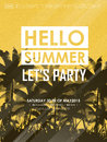 Simplicity summer beach party poster design in yellow Royalty Free Stock Image