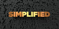 Simplified - Gold text on black background - 3D rendered royalty free stock picture