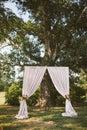 Simplistic wedding ceremony altar set up with big oak tree Stock Photos