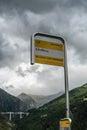 SIMPLON PASS, SWITZERLAND/ EUROPE - SEPTEMBER 16: Bus stop at Sc Royalty Free Stock Photo