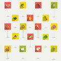 Simply minimalistic flat food and diet symbol icon set color shadows pictograms Stock Image