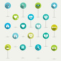 Simply minimalistic flat hospital and medical symbol icon set color shadows pictograms Royalty Free Stock Images