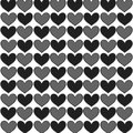 Simply seamless big hearts st valentine vector background black and gray on white Stock Images