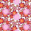 Simply seamless pink flower background floral vector pattern with many colored flowers on white Royalty Free Stock Image
