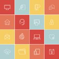 Simply social media web icons set of thin flat in minimal style Royalty Free Stock Photography